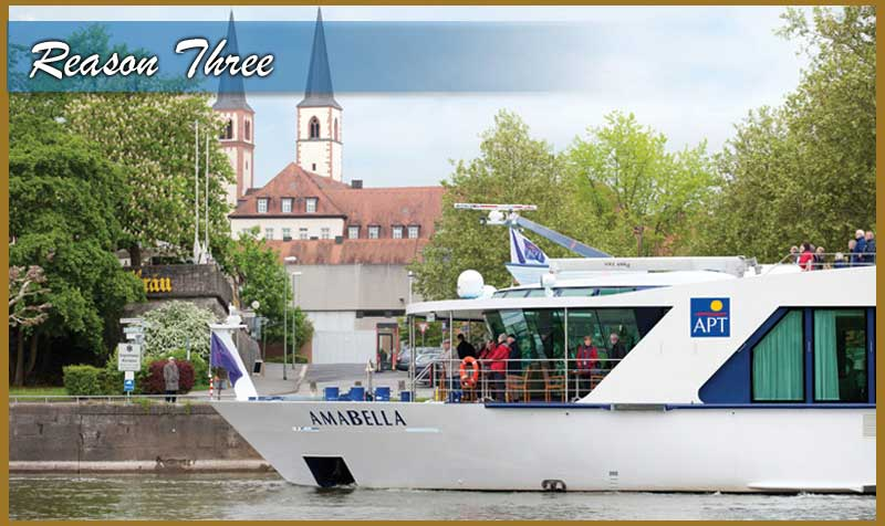 3. Dock in the Heart of Adventure & Learning Step off your floating palace each morning into the heart of a new city or hamlet. Most days your ship will dock mere steps from museums, landmarks, and dining adventures. Being so close to the town center allows for you to sample local culture on your own or choose one of the many daily excursions. Quite often your ship will overnight in a city allowing for an extended experience.