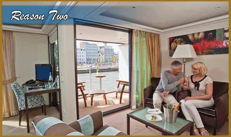 2. Unpack Just Once in 4-5 Star Accommodations No other vacation allows for you to visit different cities and countries and unpack just once. Your hotel follows with you, no more having to waste time every day or so, settling into a new room. You have more time to discover the sights and sounds of your vacation each day and then return each evening to the comfort of first class accommodations. Or just sit back, relax and enjoy the scenery as it slips by your balcony enroute to your next destination.